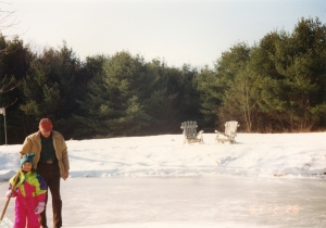 My Papa (grandfather) and a much younger 'me' skating on the pond at the Pennellville house