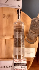 Cold River Vodka bottle with etched label