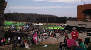 The crowds and the green river at the US National Whitewater Center