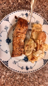 The finished product!  Yummy scalloped potatoes with salmon.