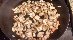 Browning the mushrooms...