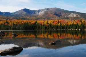 View of Mount Katahdin in fall.