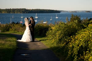 One of my favorite pictures from our wedding... taken on the Eastern Promenade in Portland, Maine.  Photography by Nicole Derr, nmdphotography.com