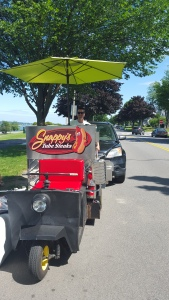 Snappy manning the cart!